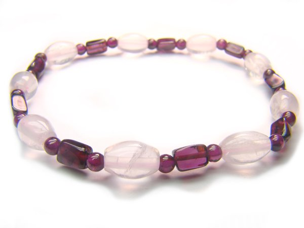 BB54 Rose Quartz Garnet Clear Quartz Bracelet 8