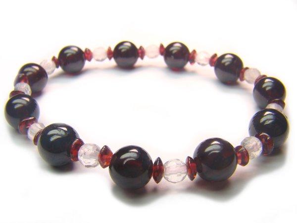 BB55 Rose Quartz Garnet Clear Quartz Bracelet 9