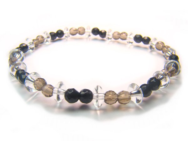 BB67 Smoky Quartz Onyx Clear Quartz Bracelet 1