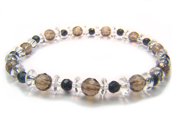 BB68 Smoky Quartz Onyx Clear Quartz Bracelet 2