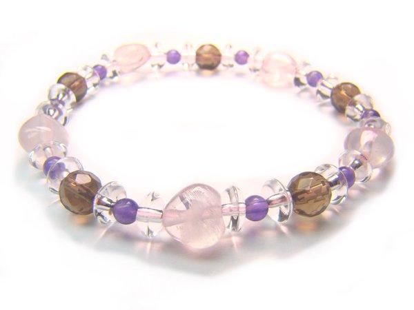 BB57 Rose Quartz Smoky Quartz Amethyst Clear Quartz Bracelet 1