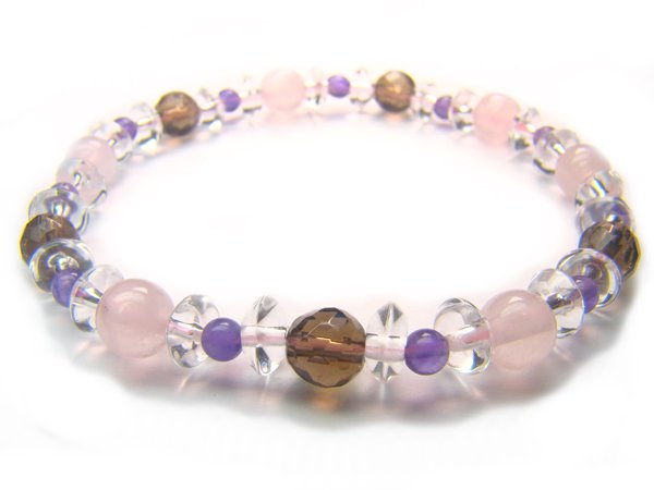 BB59 Rose Quartz Smoky Quartz Amethyst Clear Quartz Bracelet 3