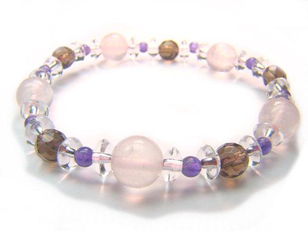 BB60 Rose Quartz Smoky Quartz Amethyst Clear Quartz Bracelet 4