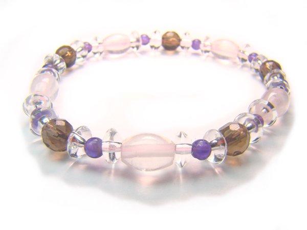BB62 Rose Quartz Smoky Quartz Amethyst Clear Quartz Bracelet 5