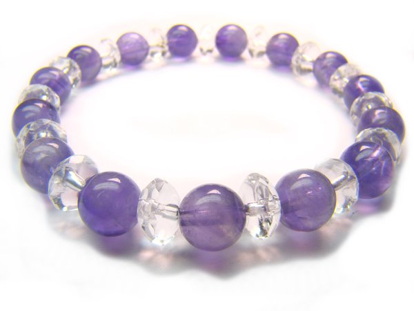 BB50 Amethyst Clear Quartz Bracelet 1