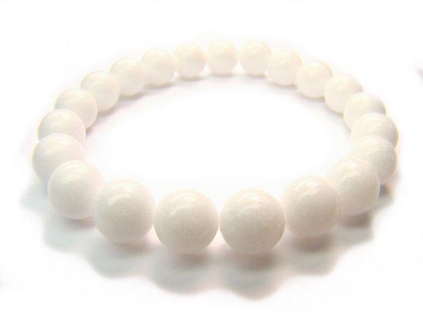 BB0073C White Jade Round Shape 8 mm Bracelet
