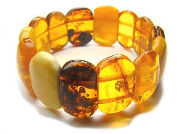 BA9066 Amber Oval Shape 20x13mm Bracelet