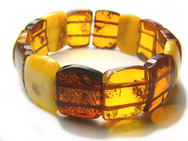 BA9067 Amber Rectangular Shape 20x18mm Bracelet