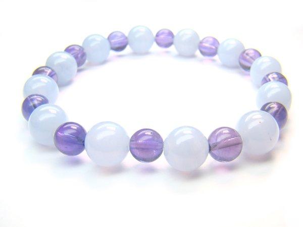 BB85 Blue Lace Agate Amethyst Bracelet 3