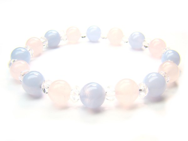 BB87 Blue Lace Agate Clear Quartz Rose Quartz Bracelet 5