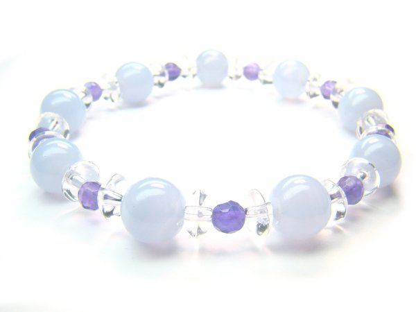 BB88 Blue Lace Agate Clear Quartz Amethyst Bracelet 6
