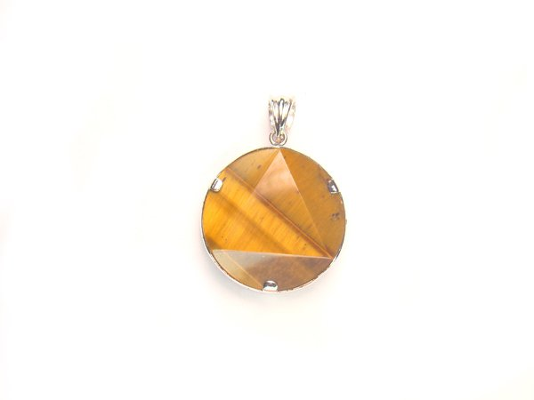 PA0370 Tiger Eye Star of David 20mm Pendant