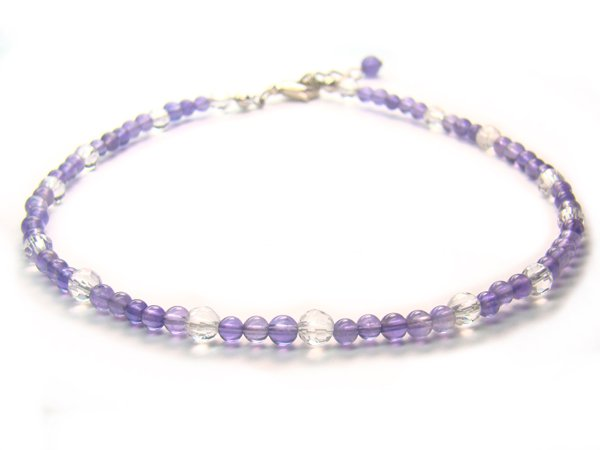 AA210F Amethyst Clear Quartz  Anklet