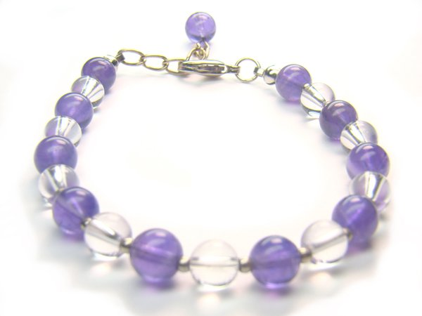 BB80F Amethyst Clear Quartz Bracelet