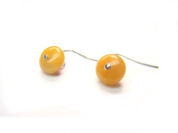 EWJXRS0800X Yellow Jade Donut Shape 6x10mm Earrings