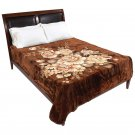 Brookwood Home Brown Floral Blanket