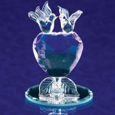 Glass Lovebirds Crystal Heart, Free Shipping.