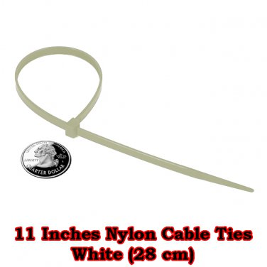 200 pcs. at 11 Inches. White Nylon Cable Ties (28 cm)
