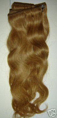"100% Remy human hair clip on (Body Wave 18"", #27)"
