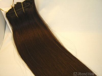 "100% Remy human hair clip on (Silky Straight 12"",#1b)"