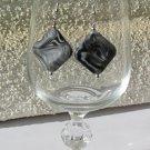 Black, grey and white swirl earrings