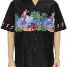 Men's Shirt - Santa Claus Surfing - Black  2XL-4XL