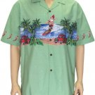 Men's Shirt - Santa Claus Surfing - Green 2XL -4XL