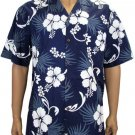 Hibiscus - Cotton Shirt - Navy 2XL - 3XL