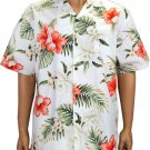 Ko Olina- Cotton Aloha Shirt - White  2XL - 4XL