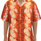 Path of Leaves - Cotton Aloha Shirt  Orange