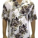 Men Shirts - Hibiscus Olive Rayon