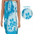 Beach Hibiscus Sarong - Light Blue