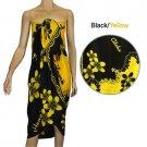 Plumeria Black-Yellow Sarong