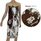 Sarong - Brown & White Hibiscus