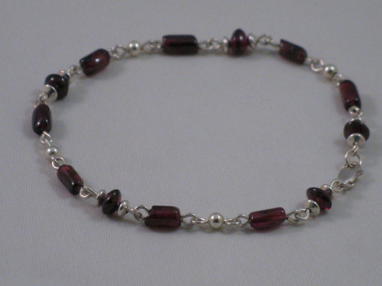 Genuine Garnet Sterling Silver Bracelet - T171B