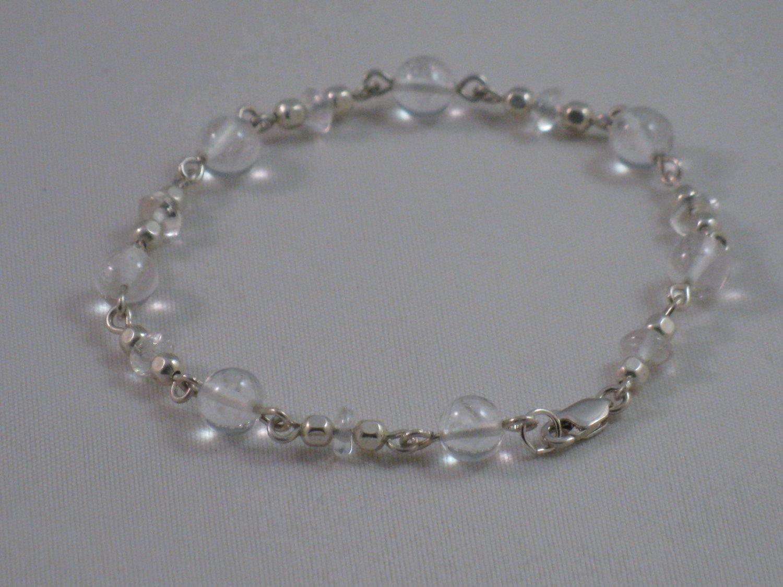 Rock Crystal Sterling Silver Bracelet - 162B