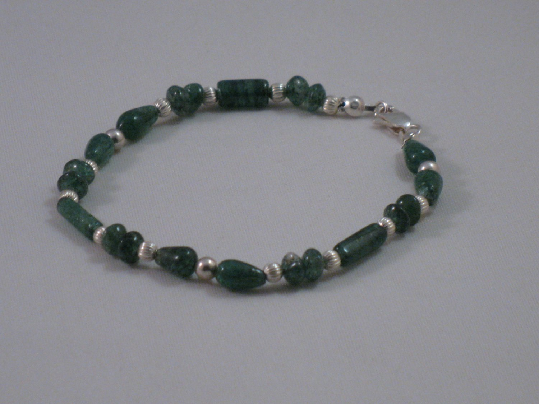 Green Adventurine Sterling Silver Bracelet - ST186B