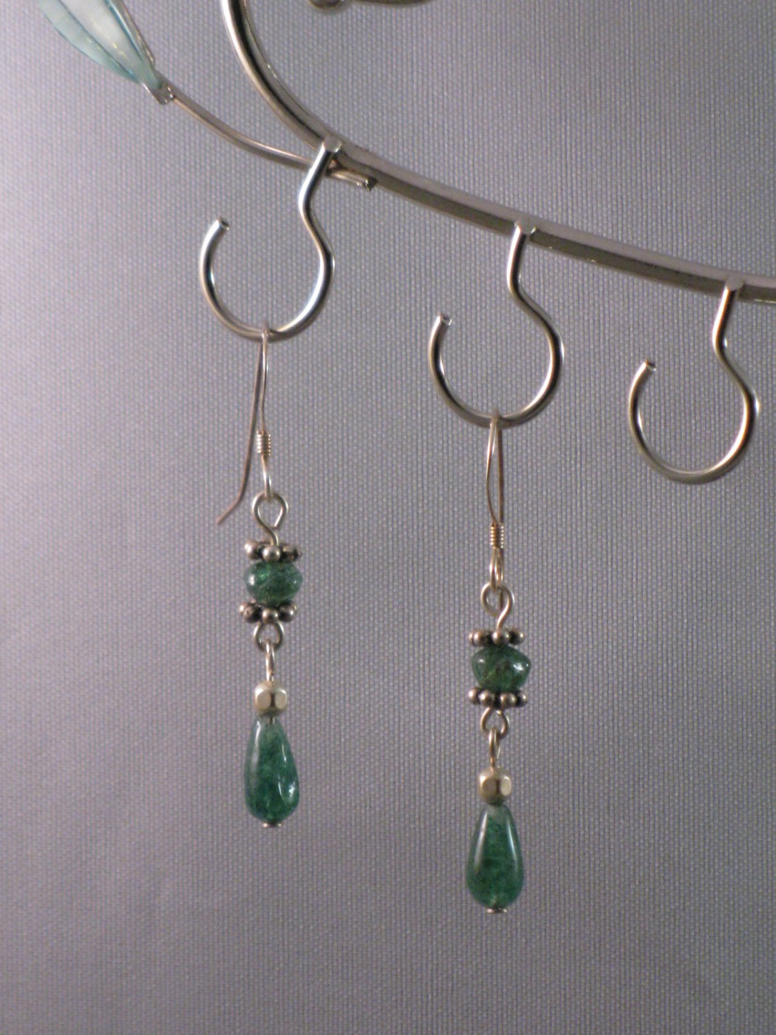 Green Adventurine Sterling Silver Earrings - S102C