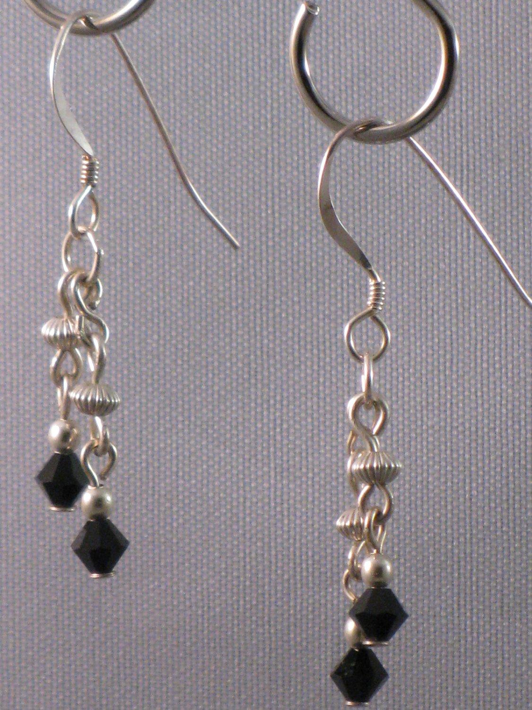 Black Swarovski Crystal Sterling Silver Earrings - 144C