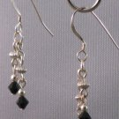 Black Swarovski Crystal Sterling Silver Earrings - 144C