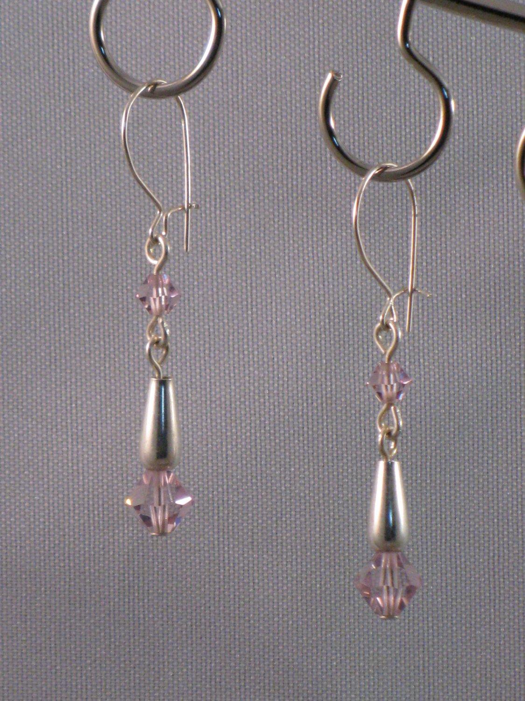Lavendar Swarovski Crystal Sterling Silver Earrings- ST218C