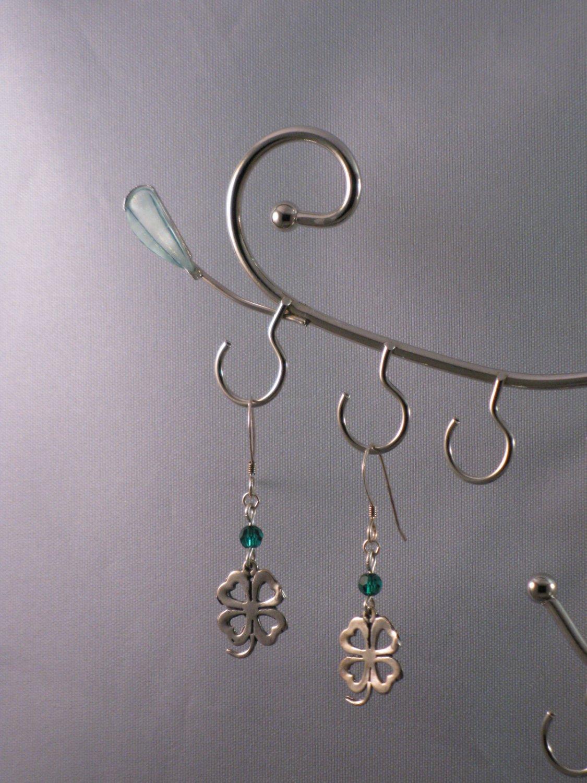 Shamrocks with Green Swarovski Crystal Earrings - S156C