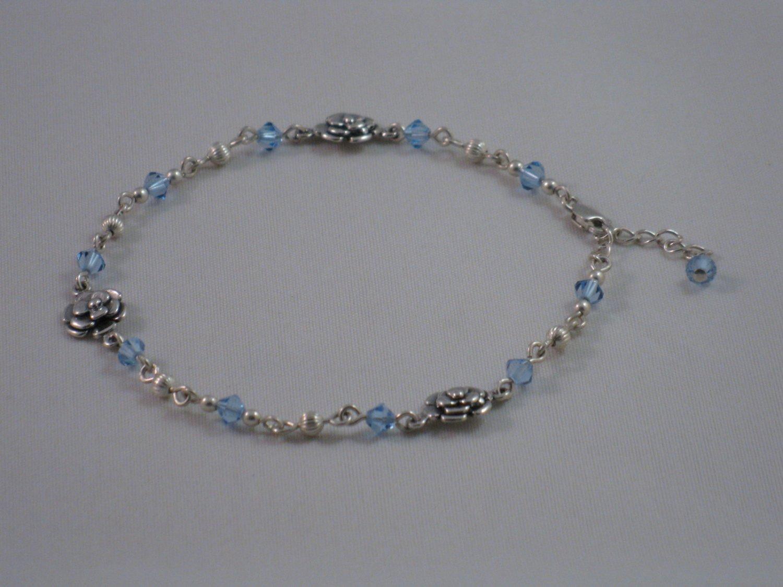 Lt. Blue Swarovski Crystal & Sterling Silver Flower Links - S142D