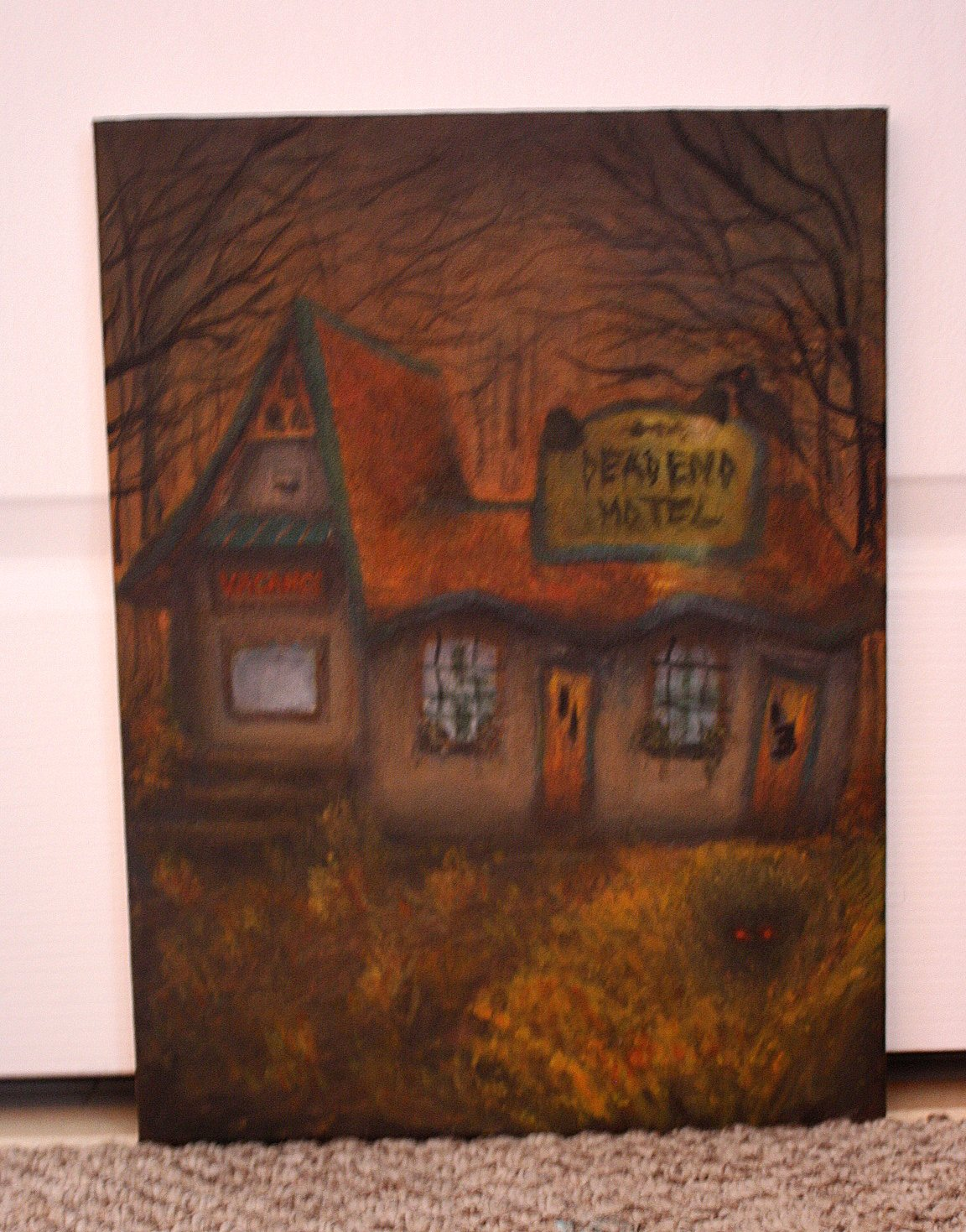 Dead End Motel - Original Acrylic Haunted Halloween Creepy Painting