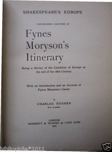 Shakespeare's Europe - 1903 - Very Good Fynes Moryson VG