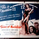 The Sins of Madeleine1947 Hedy Lamarr (Dishonored Lady) Original Movie Poster