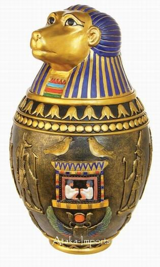 KHNUM EGYPTIAN CERAMIC CANOPIC JAR (6403s)