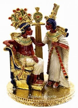 PEWTER-EGYPTIAN KING TUT AND QUEEN FIGURINE (6237)