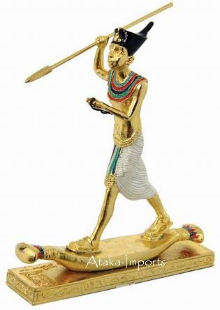 PEWTER-KING TUTANKHAMUM ON PAPYRUS RAFT FIGURINE (6226s)