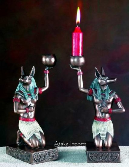 SET OF 2 -EGYPTIAN GOD ANUBIS CANDLEHOLDER-SPECIAL (5482)